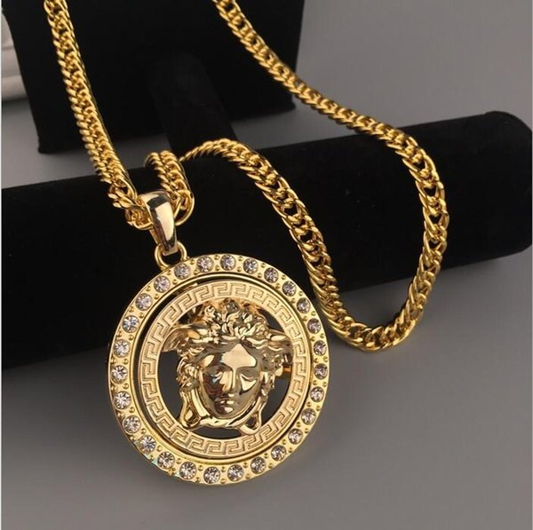 Tiempo limitado Famosos CSGO Hombres Collares de diseño Rhinestone de lujo Hip Hop Máscara Cabeza Colgante Collar Oro Collar cubano