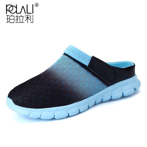 POLALI 2018 Men Women Summer Sandal Mesh Breathable Padded Beach Flip Flops Shoes Solid Flat Bath Slippers #8447