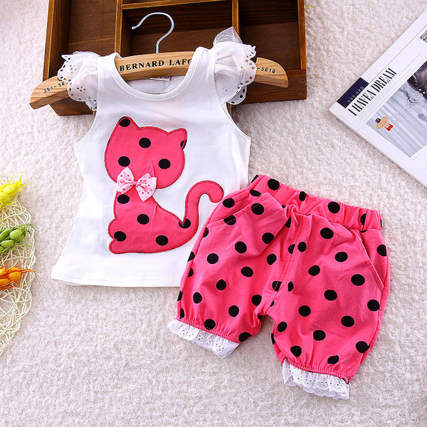 good quality Baby Girls Summer clothing set toddler girls vest clothes sets petals short T-shirt + pants suit