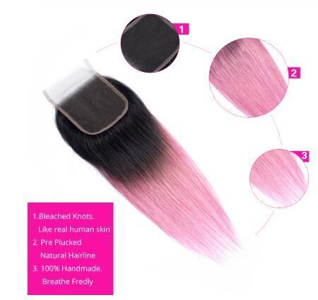 Paquetes de armadura de cabello humano no remy pre-coloreados con cierre Parte libre 1B / Cabello rosa Brasileño 3 Paquetes de cabello lacio con cierre