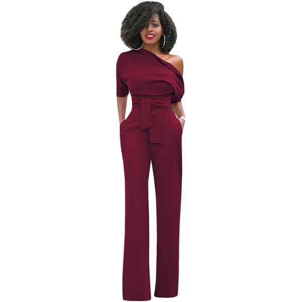 Casual Long Rompers Womens Jumpsuit 2019 Sexy Off Shoulder Short Sleeve Lady Party Elegant Jumpsuit Wide Leg Pants Club Overalls