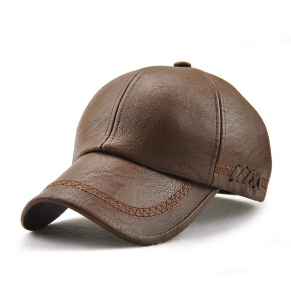 2019 New Fashion High Quality Fall Winter Men Leather Hat Cap Casual Moto Snapback Hat Men's Baseball Cap Wholesale
