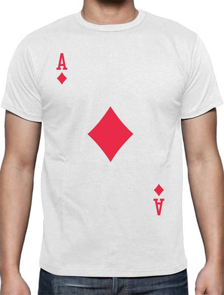 Printed T Shirt Ace Of Diamonds Playing Card Short Men Crew Neck Fashion 2018 Tees