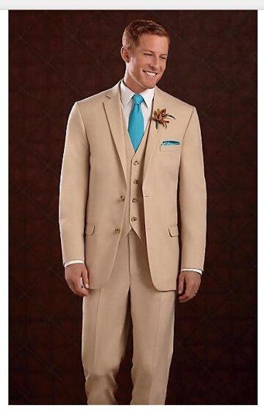 Nueva moda Beige, el mejor vestido de novio para hombre, excelente traje de actividad empresarial para hombres, traje de fiesta (traje + chaqueta + chaleco + corbata) NO: 308