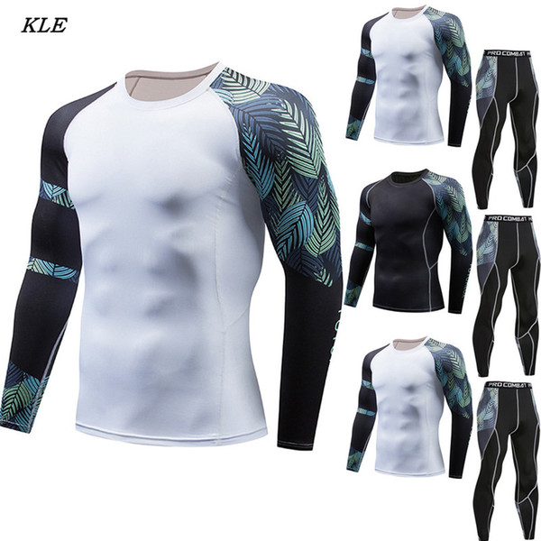 Sunfree Fashion Men's Sports Suit Leaf Printing Fast Drying Chandal Hombre Track Suit Fitness Sports Tight Hot Sale 3L45
