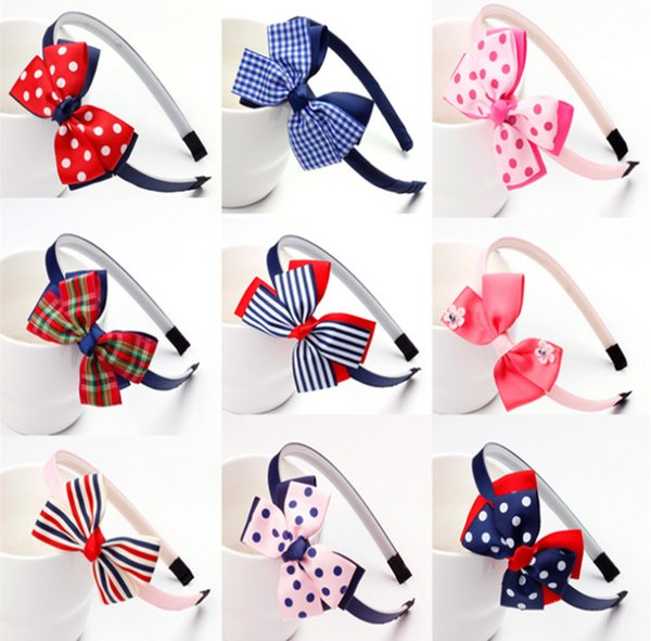 Hot4 inch Infants Hair Hoop Ribbon Bow Hair Sticks for Girls new Fashion Kids Baby Double Bows Headwear Hairs Accessories