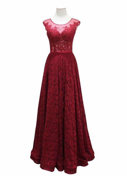 2019 Burgundy Evening Dresses Long A Line Applique Beads Sash Sheer Neck Cocktail Prom Quinceanera Dresses