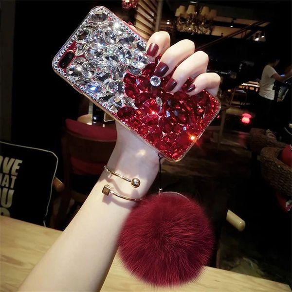 Роскошный флэш горный хрусталь для Samsung Note10 Note10P S10 S10e S10lite S9 S8 Iphone XS MAX XR X / XS 7P / 8P с защитным чехлом Hairball