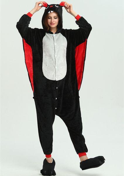 Bat Adult Children Pajamas Winter Girls Boy Kigurumi Hooded Cartoon Sleepwear Onesie Kids Pajama belly KD-056