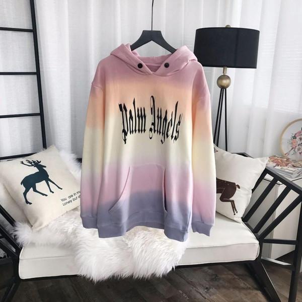 19fw moda algodón neón degradado de color suéter mujeres y hombre de alta calidad con capucha suéter Hfbywy113