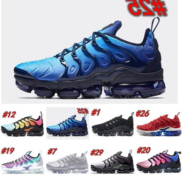 TN Plus Men Running Shoes USA Grape Red Violet Blue Tropical Sunset Triple Black White Womens Trainers Designer Sports Shoes Sneakers 5.5-11