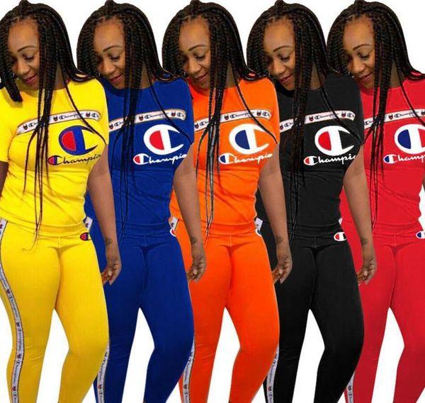 2019 Mujeres Campeones Carta Verano Chándal Tops de manga corta Pantalones Leggings Conjunto de 2 piezas Champi Camiseta Traje Jogger Ropa deportiva Ropa