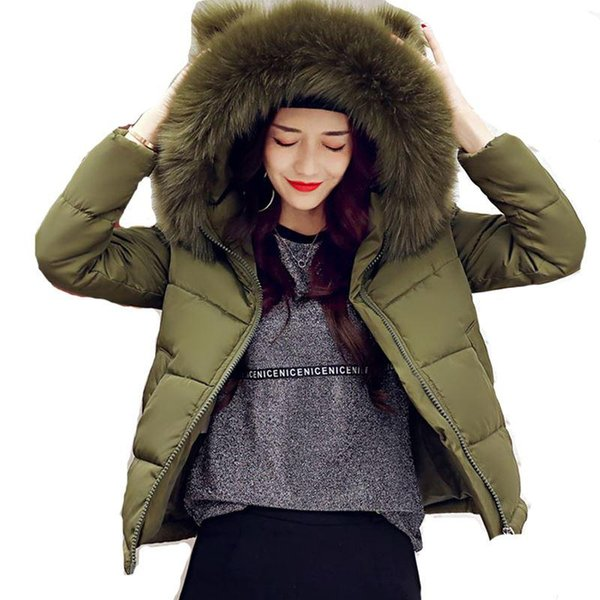 2017 new fashion Big Fur Collar Warm Hooded Autumn Winter Jacket Women womens cotton padded short coat casaco feminino