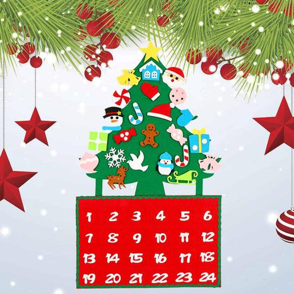 Войлок Рождественской елки Адвент календарь Праздник Countdown 60x90cm DIY висячие украшения украшение партии благосклонность Детских Подарки Ремесло