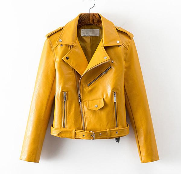 Leather jacket ladies autumn 2019 new Korean fashion short section waist Pu leather wild women's jacket Yellow pink black coat