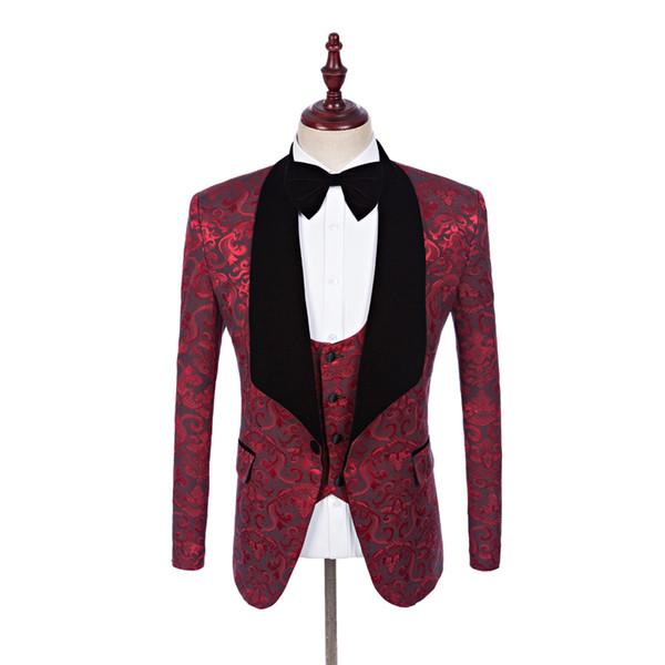 Impreso Novios Esmoquin Borgoña Padrino de boda Vestido de novia Negro Velvet Lapel Man Chaqueta Blazer Cena Traje de 3 piezas (chaqueta + pantalones + chaleco + corbata) 1530