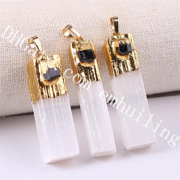 gold white selenite w/ black tourmaline