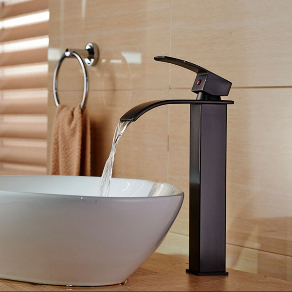 Luxury Countertop Single Lever Waterfall Basin Sink Faucet Deck Mount Hot Cold Water Mixer Taps Single Hole