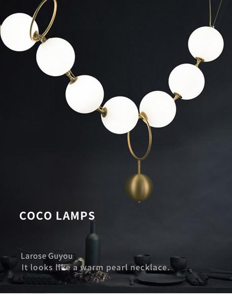 Postmodern İskandinav Oturma Odası Amerikan Tarzı kolye lamba Restoran Cam Top Kolye Yaratıcı kolye ışıkları