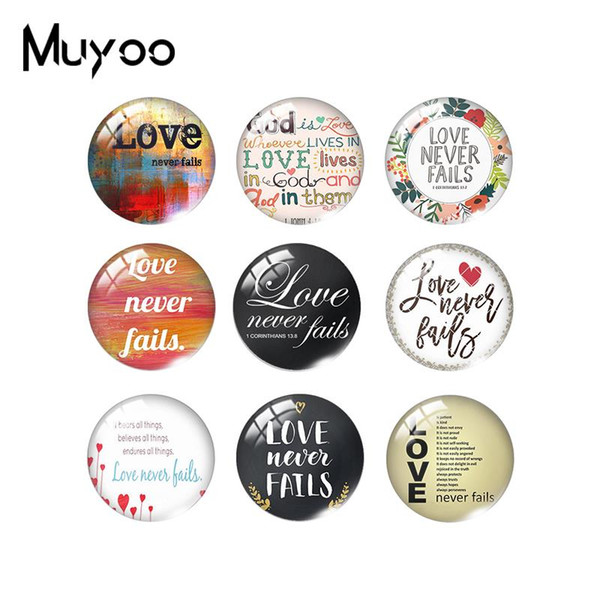 2019 New Love Never Fails 1 Corinthians 13 Class Cabochon Round Photo Jewelry Bible Quote Dome Cabochons