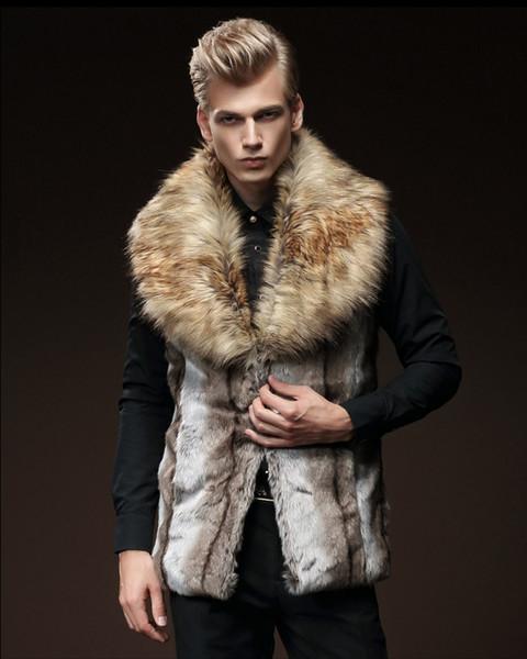 Yeni Moda Kürk Sleveless Erkekler Kalın Lüks Sahte Kürk Yelek İnce Kapşonlu Erkekler Coats Man Sıcak Giysiler Yelek