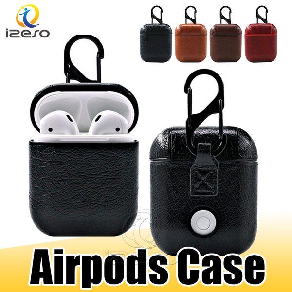Airpods için Kılıf PU Deri Kapak ile Kanca Toka Anahtarlık Anti Kayıp Kulaklıklar Perakende Kutusu ile Apple Airpod Kulaklık Kapak Koruyucusu izeso