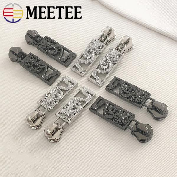Meetee 8 # Bahar Metal Fermuarlar için Kilit Fermuar Kaydırıcılar Cüzdan Cüzdan Fermuar Kafa Zip Tamir Takımları DIY Dikiş aksesuarları