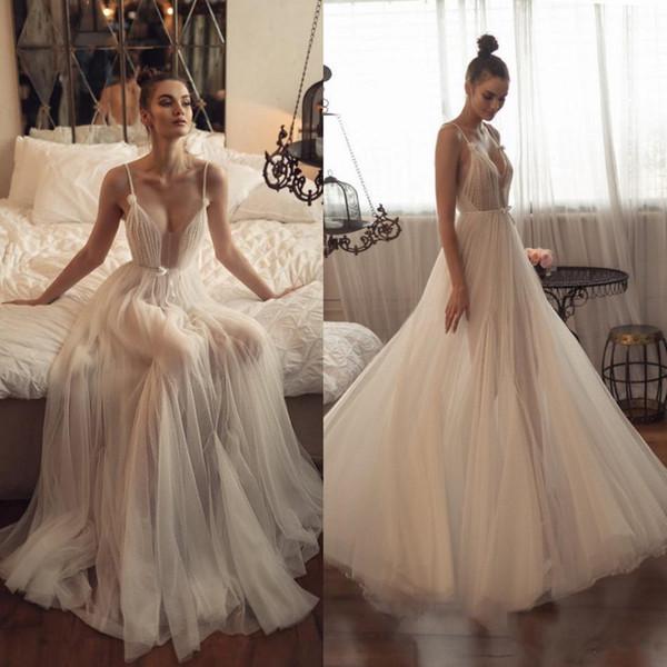 2019 Asaf Dadush Praia Vestidos De Casamento Ilusão De Verão Uma Linha De Espaguete Boho Vestidos De Noiva Plus Size Vestido De Noiva Boêmio vestido de novia