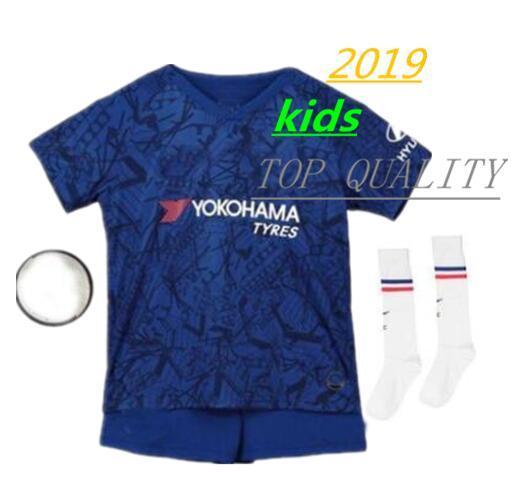 19-20 10 PELIGRO Kit de niños Jersey de fútbol 2019 Azul hogar 7 KANTE 9 HIGUAIN camisetas de fútbol para niños Uniforme de fútbol WILLIAN ventas de uniformes