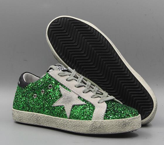 Gansos de oro viejo estilo de las zapatillas de deporte sucios zapatos de cuero genuinos de las vellosidades dermis Zapatos Casual Hombres Mujeres de lujo Superstar Trainer 36-46