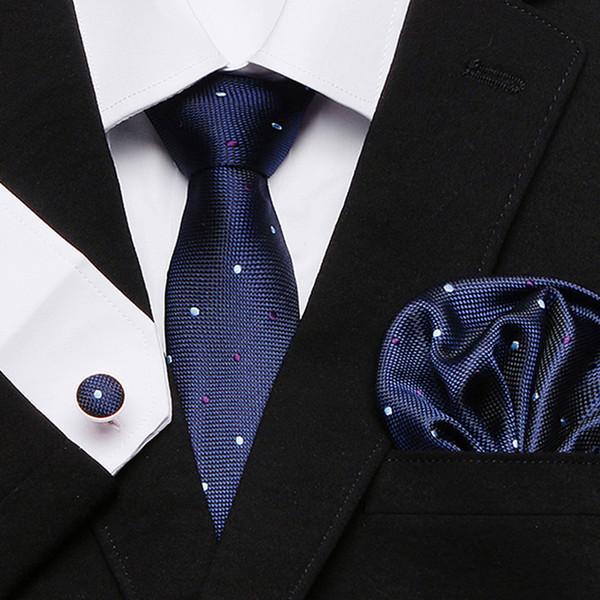 Yeni Resmi erkek Koyu Mavi Ekose nokta Kravat Ipek Kravat Ziyafet Düğün Iş Hanky Kol Düğmeleri Ayarlamak Ipek Jakarlı Boyun suit