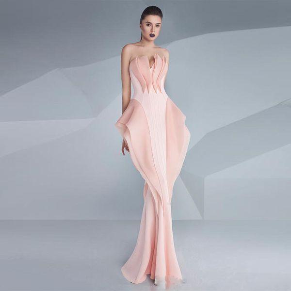 Neue Zuhair Murad Nixe-Abend-Kleider mit V-Ausschnitt ärmellos Rüschen Abendkleider bodenlangen roten Teppich formales Partei-Kleid