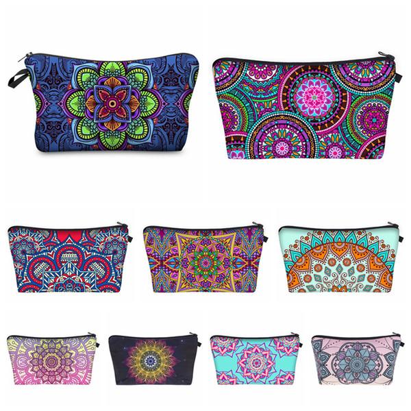 Boemia Mandala Floral 3D Impressão Cosméticos Sacos Mulheres Caso de Maquiagem de Viagem Mulheres Bolsa Zipper Saco de Cosmética Flor Impresso Saco 18 estilos RRA1731