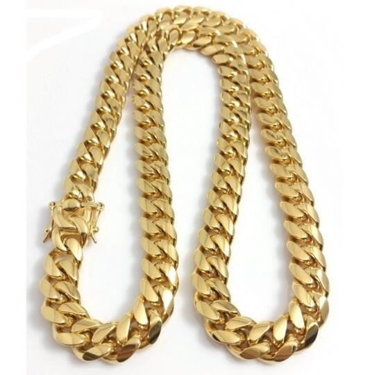 """Stainless Steel Jewelry 18K Gold Plated High Polished Miami Cuban Link Necklace Men Punk 14mm Curb Chain Dragon-Beard Clasp 24""""/26""""/28""""/30"""""""