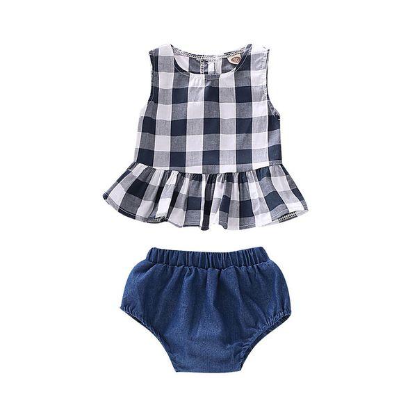 Baby Vest Шорты Костюм Детская Дизайнерская Одежда Девушки Квадратный Рюшами Топы Твердые Джинсовые PP Шорты Детские наряды Набор Одежды для Детей 06