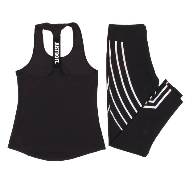 Women Set Sports Top Vest +reflective Fitness Clothing Running Tights Jogging Workout Yoga Leggings Sport Suit Q190517