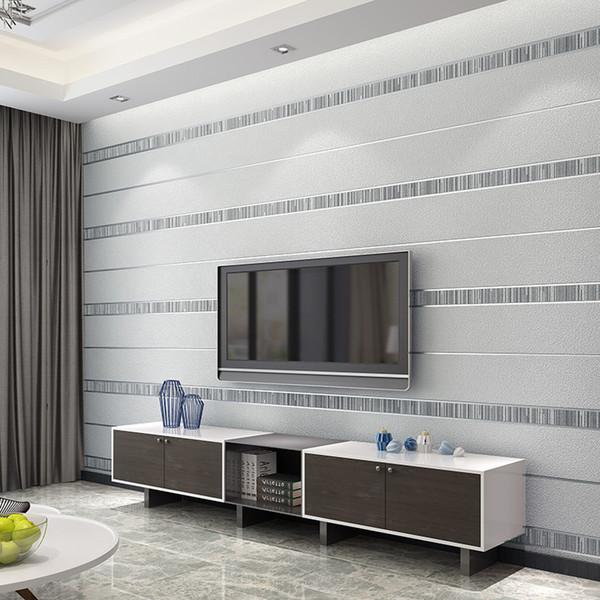 Stereoscopic 3d Modern Striped Vliestapete Für Wohnzimmer Schlafzimmer Tv Hintergrund Wall Decor Wall Paper Rolls Silver Grey