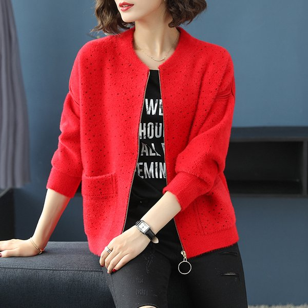 3 Colors Brand Short Zipper Coat Fall Winter Women O-neck Coat New Hit Color Polka Dot Casual Thicken Warm Loose Women