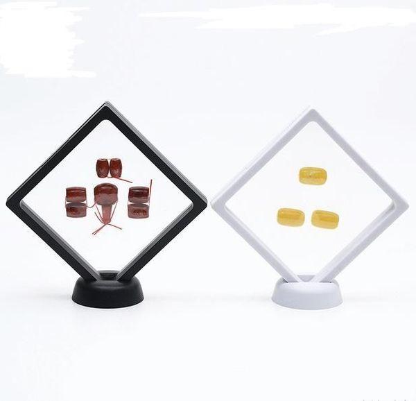 400 ADET Siyah beyaz Askıya Yüzen Vitrin Mücevherat Paraları Taşlar Artefacts Standı Tutucu Kutusu