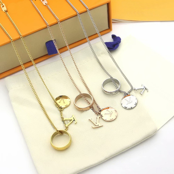 top popular Europe America Style Men Lady Women Titanium steel Lovers Thick Long Necklace Sweater chain With Engraved V Initials Flower Three Pendant 2021