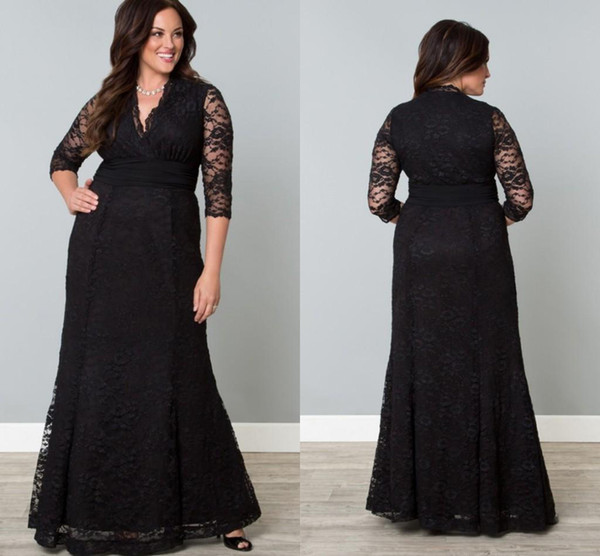 Black Full Lace Plus Size Formal Dresses V Neck 3/4 Sleeve Mermaid Evening  Gowns Floor Length Mother Of The Bride Plus Size Women Clothing Simple Prom  ...