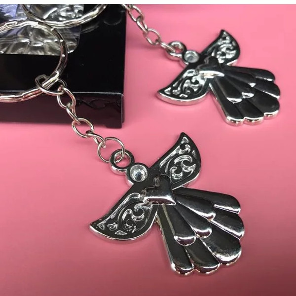 Guardian Angel Key Ring Metal Angel Keychain Wedding&Baby Shower Favors Birthday Party Giveaway