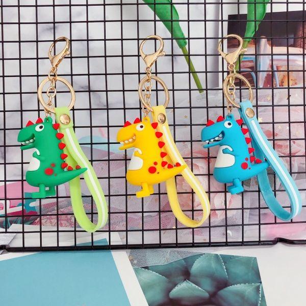 Hot Sale Cute Cartoon Keychain Little Dinosaur Keychain Animal PVC Keychains Women Bag Charm Key Ring Pendant Gifts High Quality