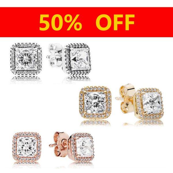 Серебро 925 пробы Розовое золото CZ Diamond EARRING Set Оригинальная коробка для Pandora Timeless Elegance Серьги-гвоздики 14K Gold Clear CZ Женщины Подарок