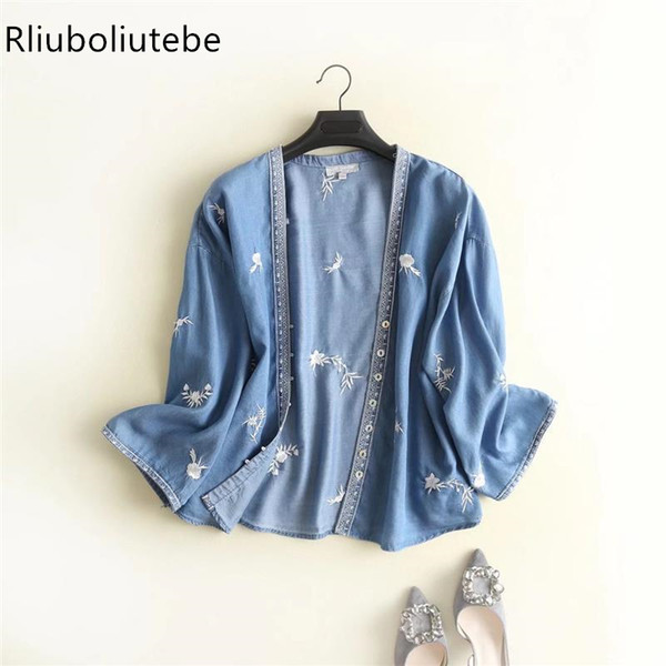 Kadın Denim Jeans Hırka Panço Nakış Vintage Bırak omuz Kimono Bluz Düğme Yukarı V Boyun Kimono Yumuşak Sonbahar Bahar T3190613