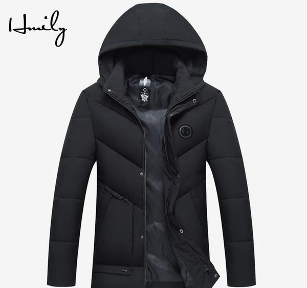 HMILY invierno chaqueta de los hombres gruesa de algodón caliente ropa de algodón a prueba de viento impermeable acolchado Edad Media Plus Abrigo Abrigos Padre