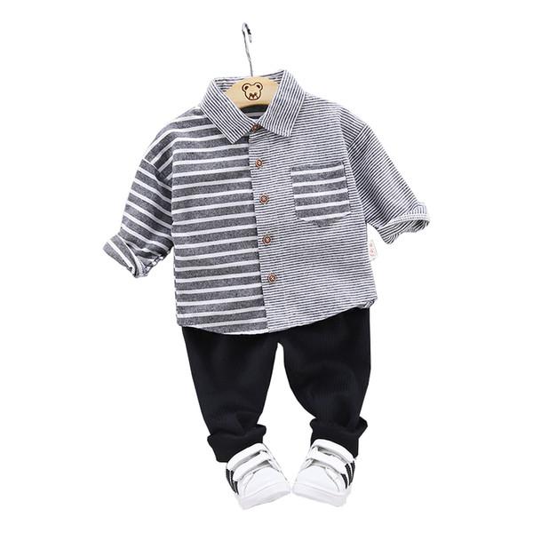 2019 Sonbahar Moda Çocuk Pamuklu Giysiler Bebek Çocuk Yaka Çizgili Gömlek Pantolon 2 Adet / takım Toddler Giyim Erkek Kız Eşofman