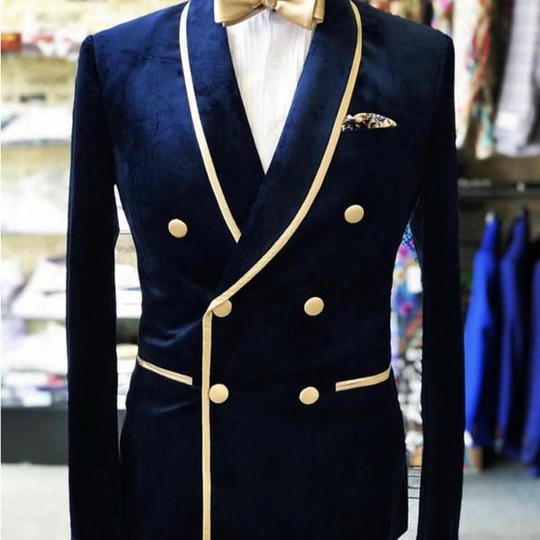Lacivert Kruvaze Düğün Smokin Damat Şal Yaka Kadife Erkekler Parti Blazer Balo İş Tasarımcı Ceket Suits Sadece Tek Parça