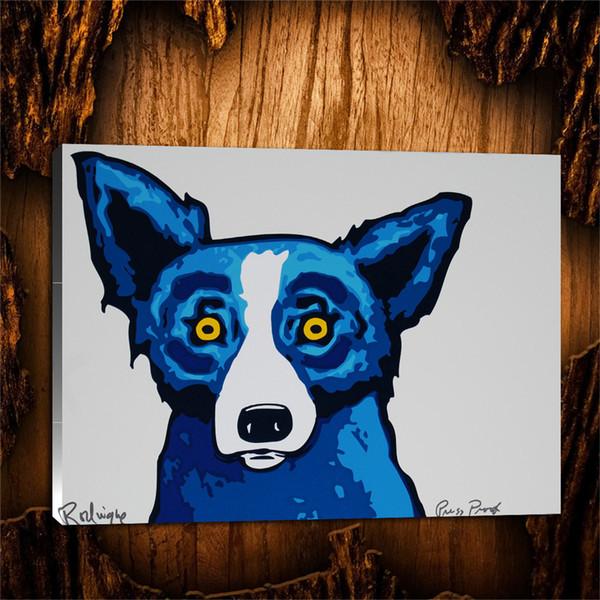 Blue Dog Head Shot -3,1 Pieces Canvas Prints Wall Art Oil Painting Home Decor (Unframed/Framed) 24X32.