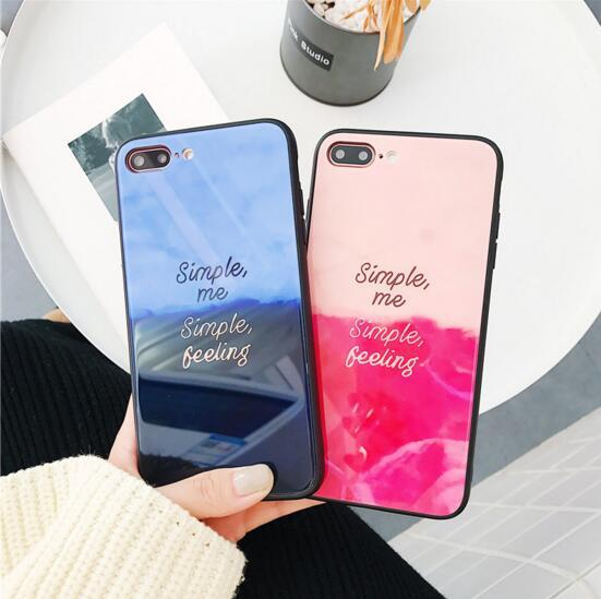Contrast color Blu-ray for Apple 7plus gradient color English tempered glass iPhoneX mobile phone shell